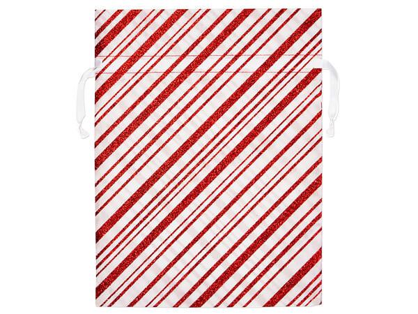 "Candy Cane Stripe Fabric Gift Bag, 12 x 16"",3 pk"