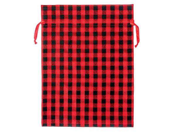 Red Buffalo Plaid Fabric Gift Bag