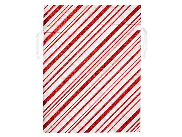 "Candy Cane Stripe Fabric Gift Bag, 16-1/2 x 22"",3 pk"