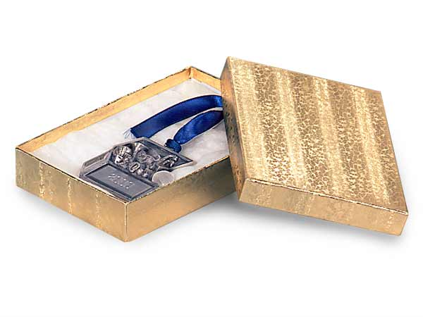 "Gold Embossed Foil Jewelry Boxes, 5.5x3.5x2"", 100 Pack, Cotton Fill"