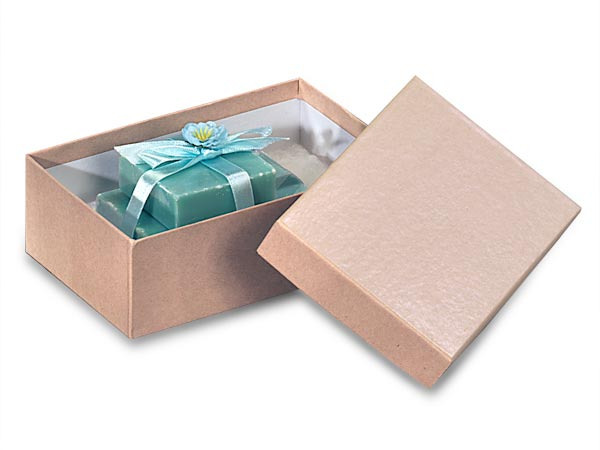 "Brown Kraft Jewelry Gift Boxes, 5.5x3.5x2"", 100 Pack, Cotton Fill"