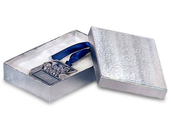 "Silver Embossed Foil Jewelry Boxes, 5.5x3.5x2"", 100 Pack, Cotton Fill"