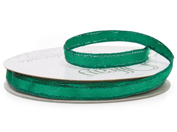 """Metallic Green Ribbon, 3/8"""" x 25 yards"""