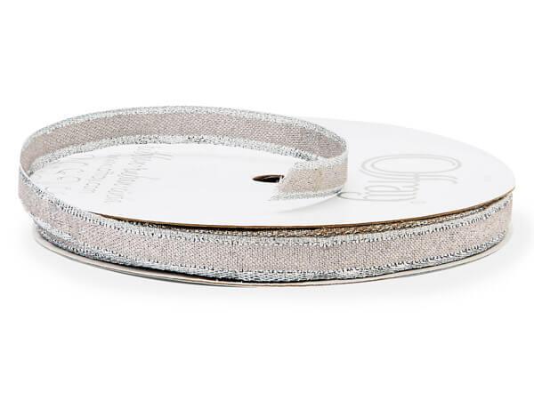 "Metallic Silver Ribbon, 3/8"" x 25 yards"