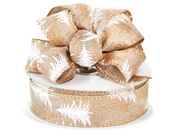 """Natural Burlap with Trees Wired Ribbon, 1-1/2"""" x 25 yards"""