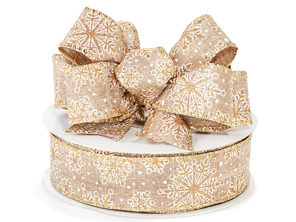 """Natural Burlap with Snowflakes Wired Ribbon, 1-1/2"""" x 25 yards"""