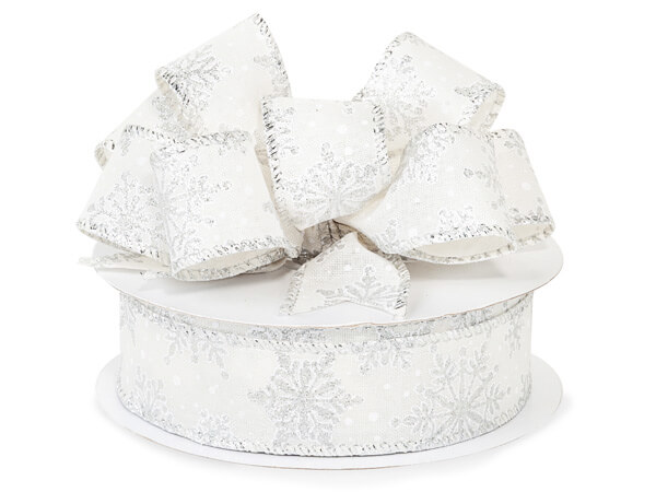 """White Burlap with Snowflakes Wired Ribbon, 1-1/2"""" x 25 yards"""
