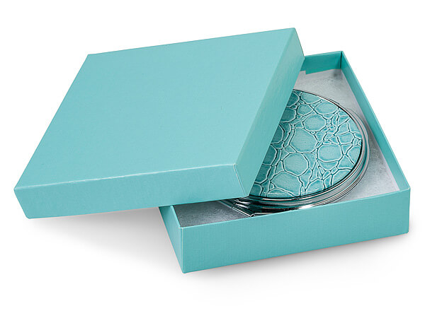"Aqua Blue Jewelry Gift Boxes, 3.5x3.5x1"", 100 Pack, Cotton Fill"