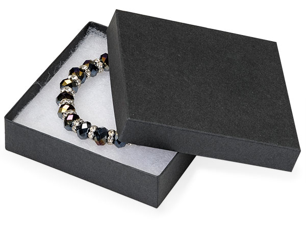 Black Matte Jewelry Gift Boxes 3 5x3 5x1 100 Pack Cotton Fill