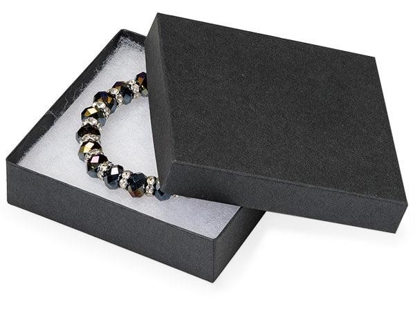 "Black Matte Jewelry Gift Boxes, 3.5x3.5x1"", 8 Pack, Fiber Fill"