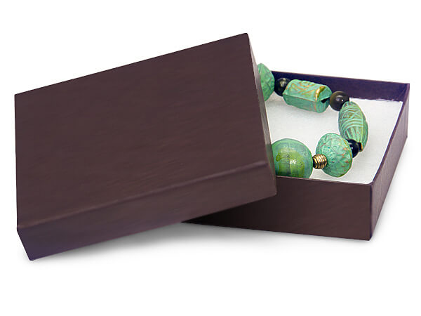 "Chocolate Embossed Jewelry Boxes, 3.5x3.5x1"", 100 Pack, Fiber Fill"
