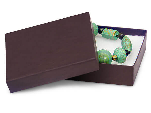 """*Chocolate Embossed Jewelry Boxes, 3.5x3.5x1"""", 8 Pack, Fiber Fill"""