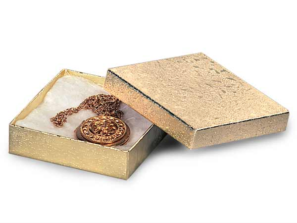 "Gold Embossed Foil Jewelry Boxes, 3.5x3.5x1"", 100 Pack, Cotton Fill"