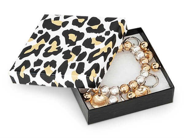 """Golden Leopard Jewelry Gift Boxes, 3.5x3.5x1"""", 100 Pack, Fiber Fill"""