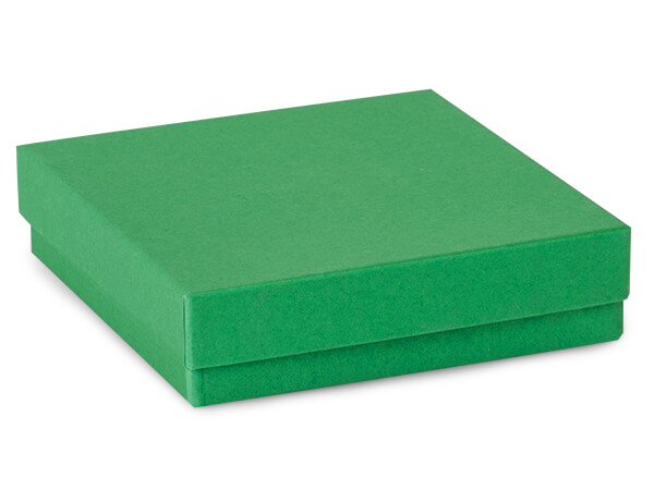 "Green Kraft Jewelry Gift Boxes, 3.5x3.5x1"", 100 Pack, Cotton Fill"