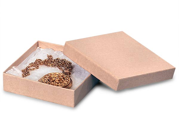 "Brown Kraft Jewelry Gift Boxes, 3.5x3.5x1"", 100 Pack, Cotton Fill"