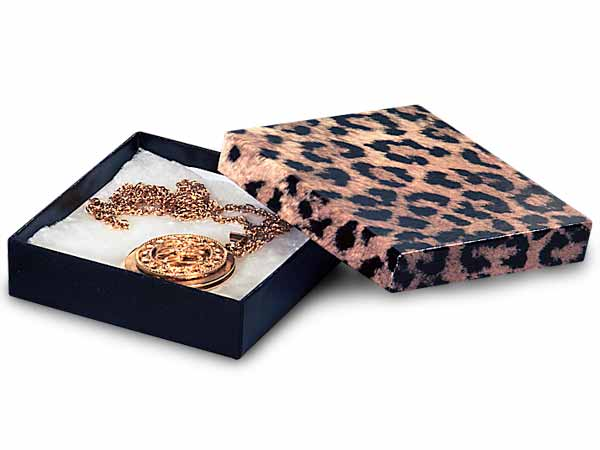 "Leopard Print Jewelry Gift Boxes, 3.5x3.5x1"", 100 Pack, Cotton Fill"