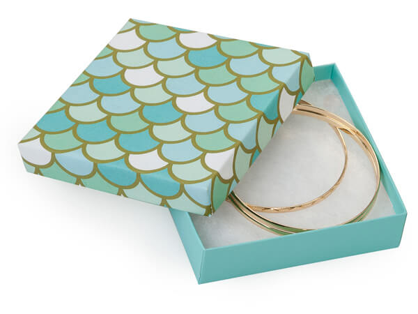 "Mermaids Paradise Jewelry Gift Box, 3.5x3.5x1"", 100 Pack, Cotton Fill"