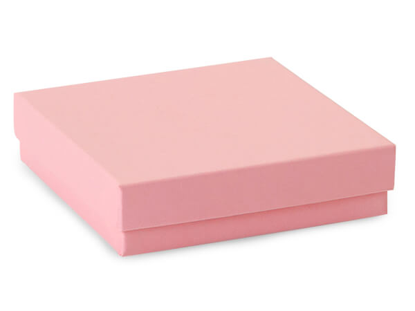"Pink Kraft Jewelry Gift Boxes, 3.5x3.5x1"", 100 Pack, Cotton Fill"