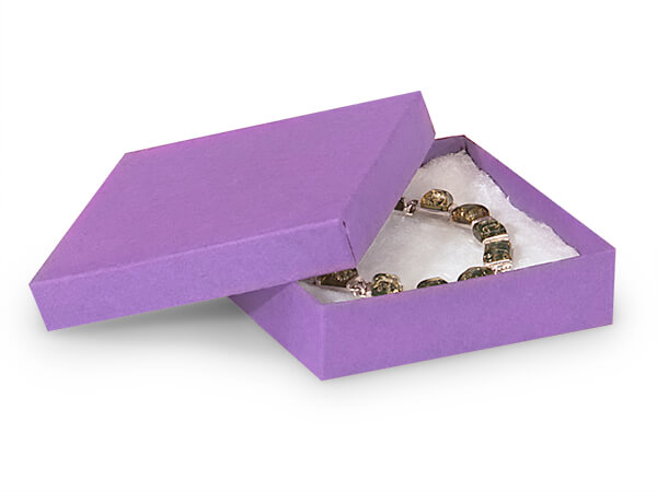 "Purple Kraft Jewelry Gift Boxes, 3.5x3.5x1"", 100 Pack, Cotton Fill"