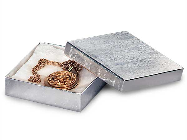 "Silver Embossed Foil Jewelry Boxes, 3.5x3.5x1"", 100 Pack, Cotton Fill"