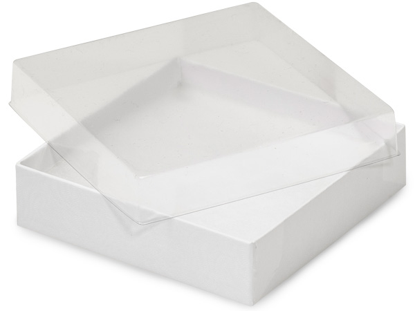 "Clear Lid White Base Jewelry Boxes, 3.5x3.5x1"", 100 Pack, Fiber Fill"