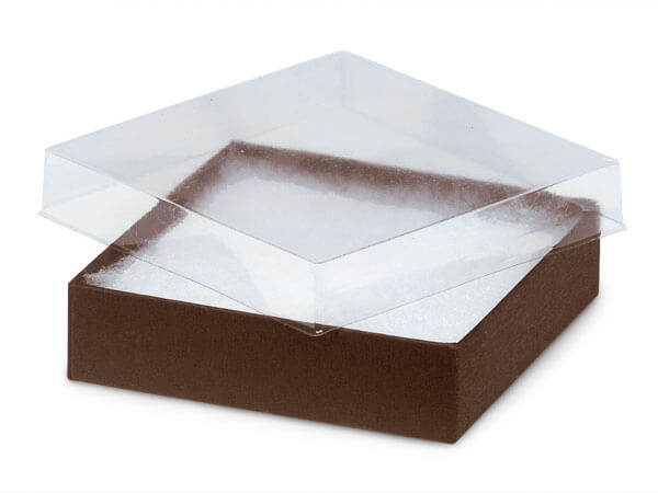 """Clear Lid Chocolate Base Gift Box, 3.5x3.5x1"""", 100 Pack, Cotton Fill"""