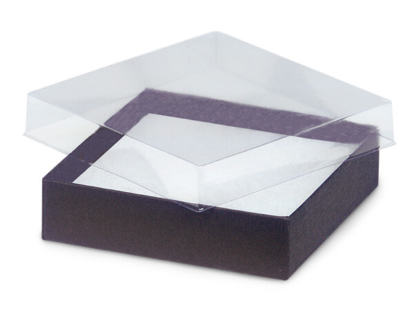 "3-1/2x3-1/2x7/8"" Clear Lid Boxes With Chocolate Bases"