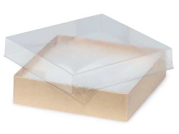 "Clear Lid Kraft Base Jewelry Boxes, 3.5x3.5x1"", 100 Pack, Cotton Fill"