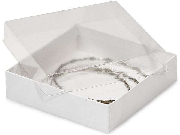 "3-1/2x3-1/2x7/8"" Clear Lid Boxes With White Swirl Base"
