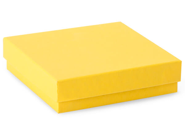 "Yellow Jewelry Gift Boxes, 3.5x3.5x1"", 100 Pack, Cotton Fill"