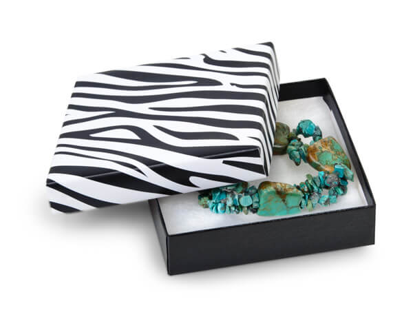 "Zebra Jewelry Gift Boxes, 3.5x3.5x1"", 100 Pack, Fiber Fill"