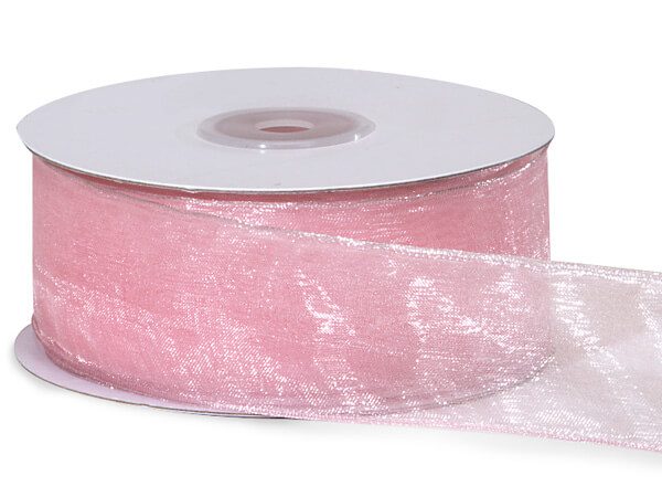 "Light Pink Wired Encore Sheer 1-1/2""x25 yds 100% Nylon Ribbon"