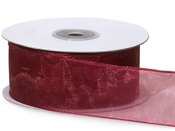 "Burgundy Wired Encore Sheer Ribbon 1-1/2""x25 yds 100% Nylon Ribbon"