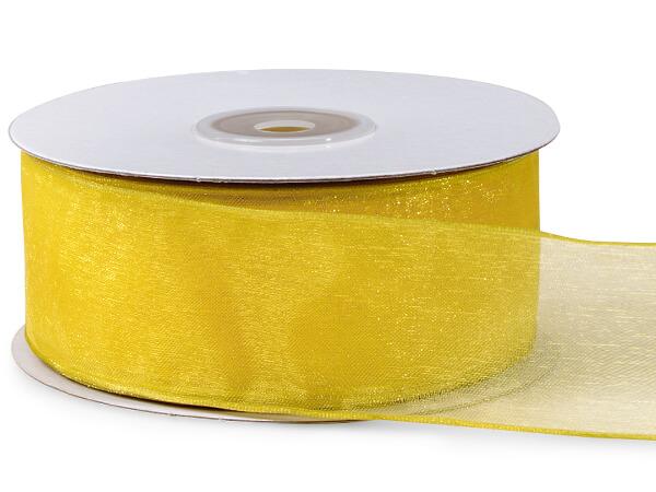 "Daffodil Yellow Wired Sheer Ribbon 1-1/2""x25 yds 100% Nylon Ribbon"