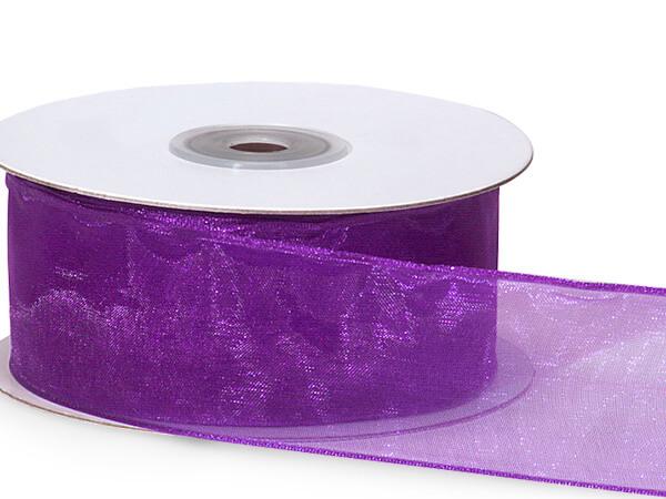 "Purple Wired Encore Sheer Ribbon 1-1/2""x25 yds 100% Nylon Ribbon"
