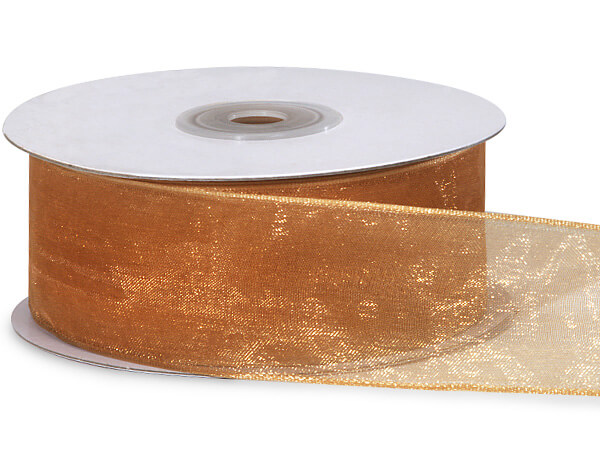 "Gold Sheer Organza Wired Ribbon, 1-1/2""x25 yards"