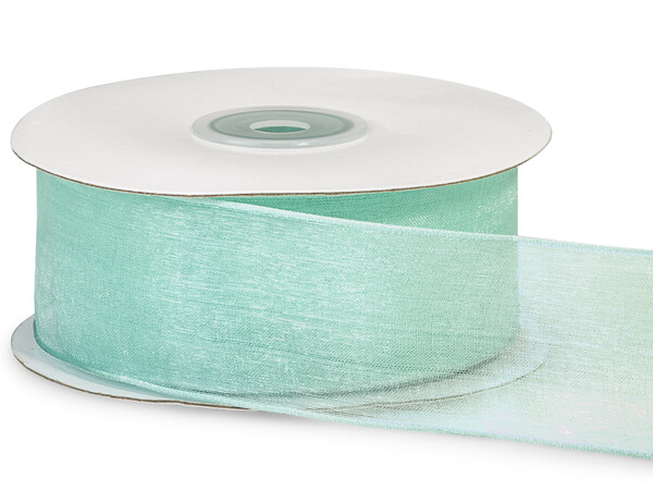 """Aqua Wired Encore Sheer Ribbon 1-1/2""""x25 yds 100% Nylon Ribbon"""