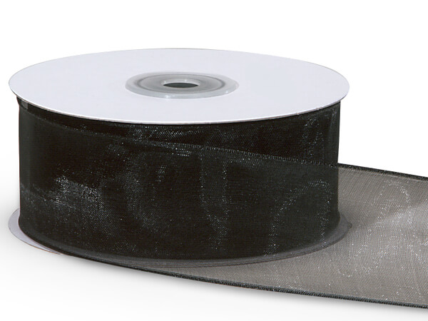 "Black Wired Encore Sheer Ribbon 1-1/2""x25 yds 100% Nylon Ribbon"