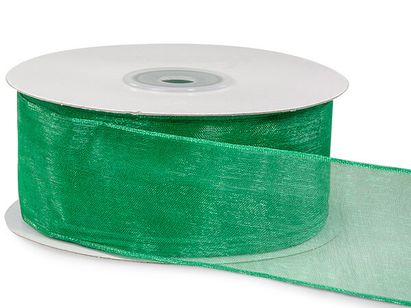 "Emerald Green Sheer Organza Wired Ribbon, 1-1/2""x25 yards"