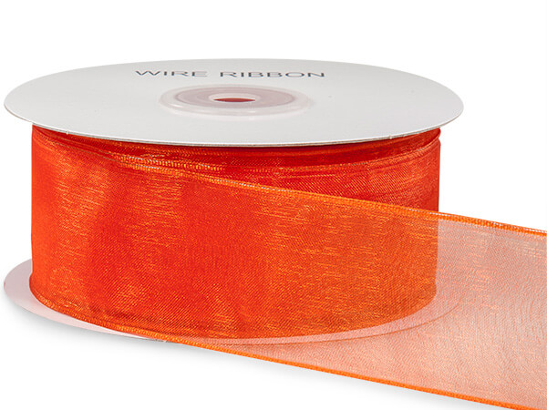 "Tropical Orange Wired Encore Sheer Ribbon 1-1/2""x25 yds 100% Nylon"