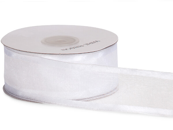 "White Wired Satin Edge Sheer 1-1/2""x25 yds 100% Nylon Ribbon"