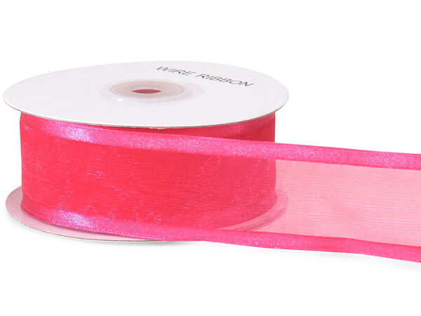 "Shocking Pink Wired Satin Edge 1-1/2""x25 yds 100% Nylon Ribbon"