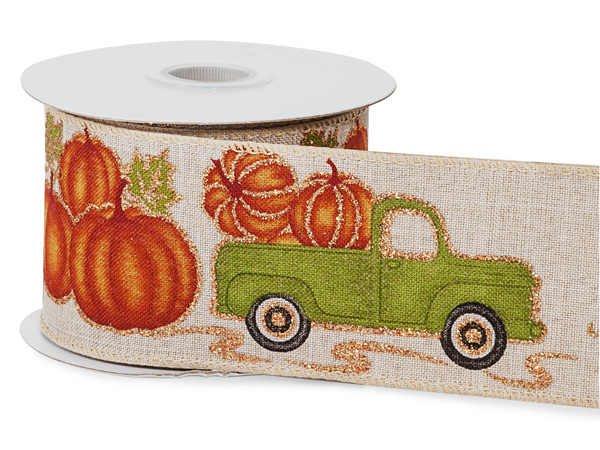 """Green Truck with Pumpkins Wired Ribbon, 2-1/2"""" x 10 yards"""