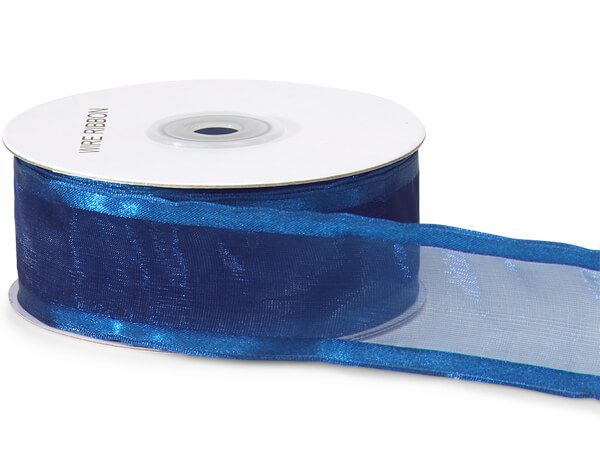 "Navy Blue Satin Edge Sheer Wired Ribbon, 1-1/2""x25 yards"