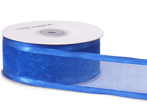 "Royal Blue Wired Satin Edge Sheer 1-1/2""x25 yds 100% Nylon Ribbon"