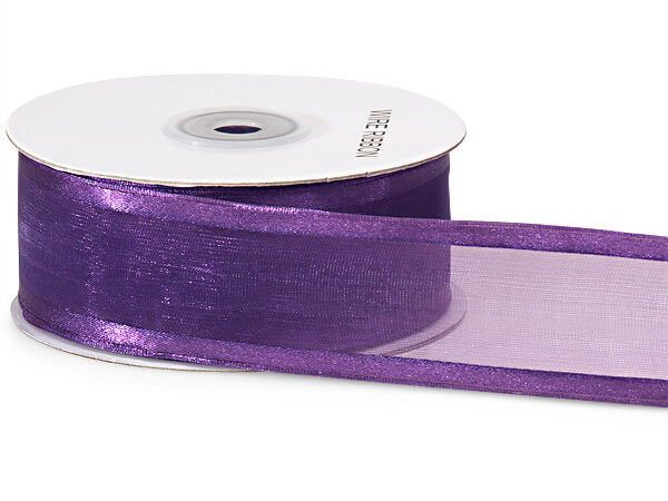 "Purple Wired Satin Edge Sheer 1-1/2""x25 yds 100% Nylon Ribbon"
