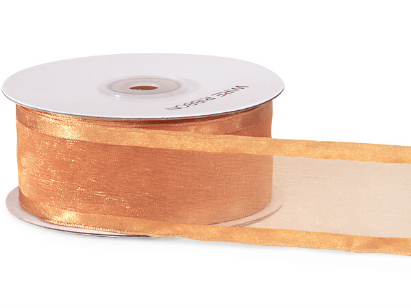 "Gold Wired Satin Edge Sheer 1-1/2""x25 yds 100% Nylon Ribbon"