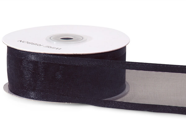 "Black Wired Satin Edge Sheer 1-1/2""x25 yds 100% Nylon Ribbon"