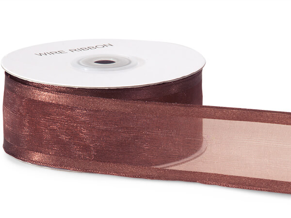 "Chocolate Brown Satin Edge Sheer Wired Ribbon, 1-1/2""x25 yards"